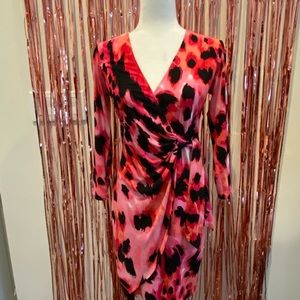 Vibrant pink and black Cache wrap dress!